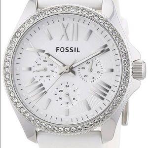 Fossil white watch with rhinestone border